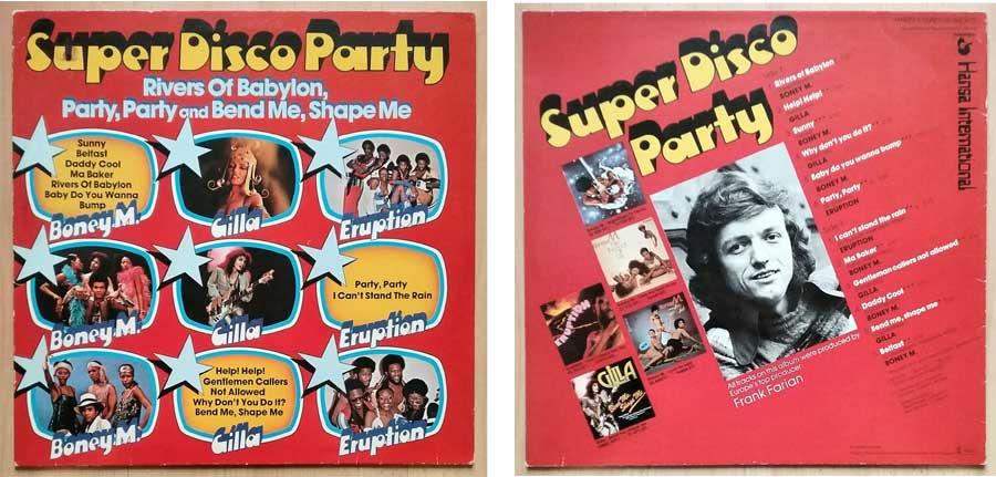 Schallplatte mit Super Disco Party
