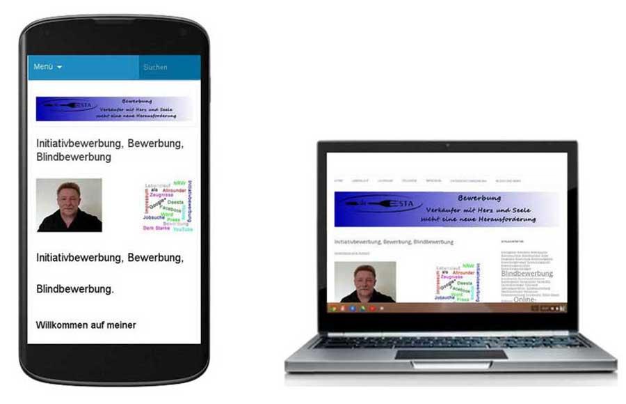 Bewerbung auf Laptop und Smartphone