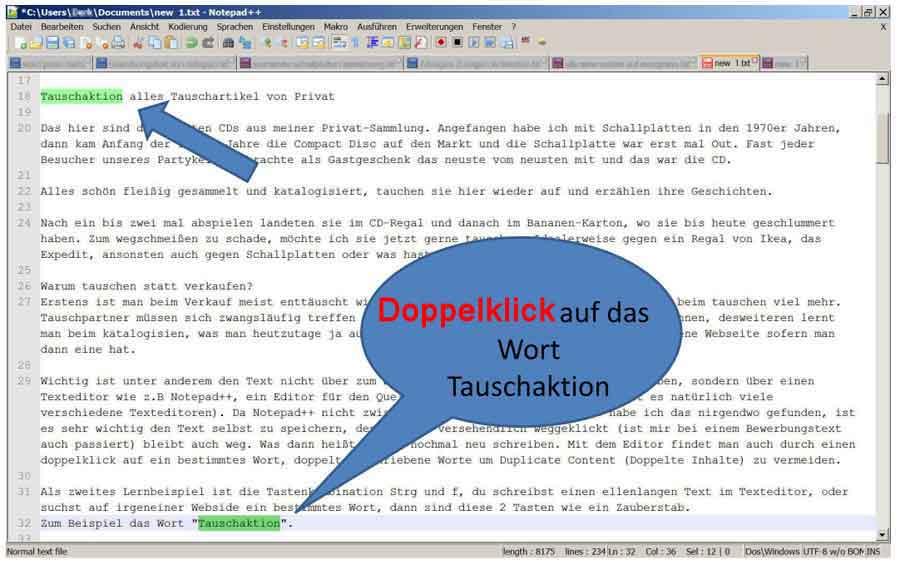 Doppelklick Beispiel Tauschartikel mit Notepad