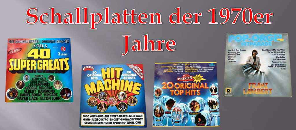 Vinylschallplatten der 1970er Jahre mit Tophits