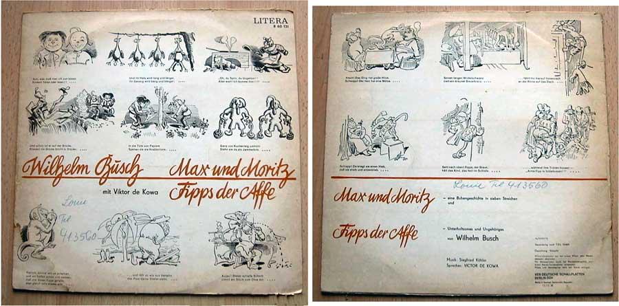 Hörspiel von Wilhelm Busch auf Schallplatte - Max und Moritz von 1975