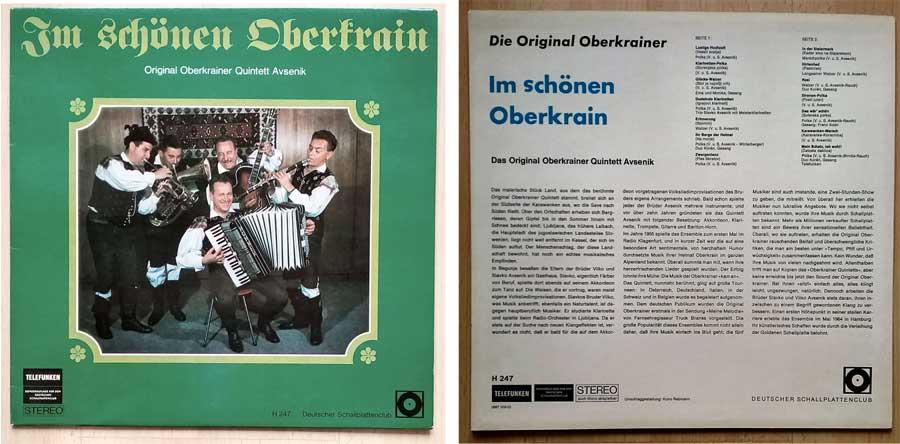 Volkslieder auf LP mit dem Oberkrainer Quintett