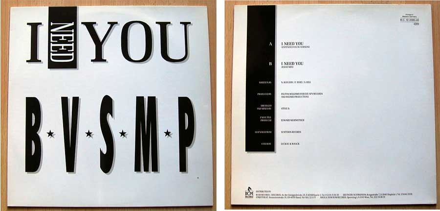 B.V.S.M.P. ‎– I Need You auf Vinyl, Maxi-Single