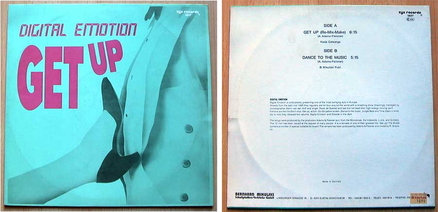 Digital Emotion ‎– Get Up auf Vinyl, Maxi-Single