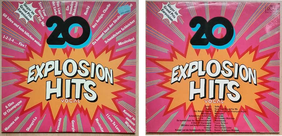 Schallplatte von 1976 mit 20 Explosion Hits Vocal