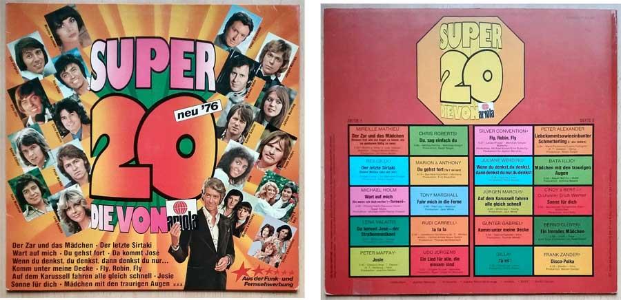 Schallplatte Super 20, die von Ariola 76