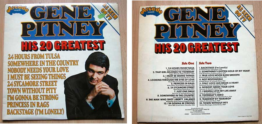 Gene Pitney - His 20 Greatest - LP Vinyl von 1976