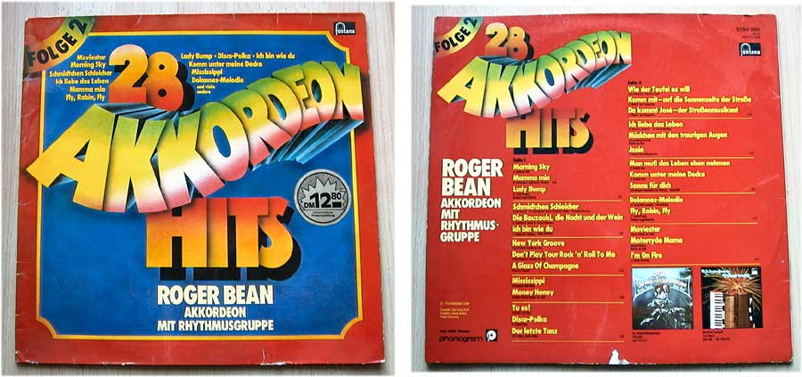 Roger Bean - 28 Akkordeon-Hits - LP Vinyl von 1976