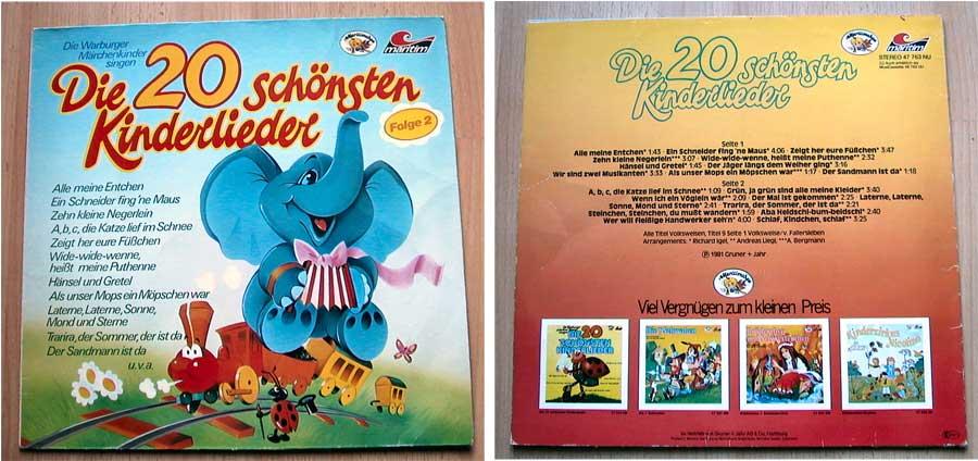 Die 20 schönsten Kinderlieder - LP Vinyl von 1981