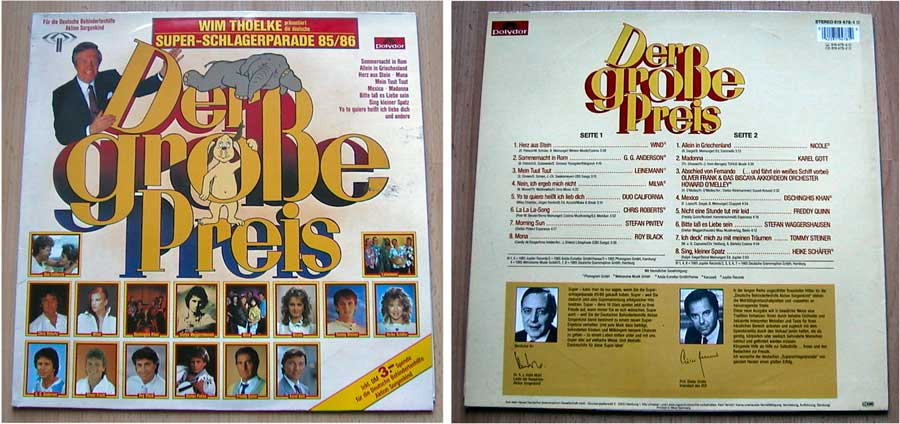 Schlagerparade Der große Preis, LP Vinyl von 1985