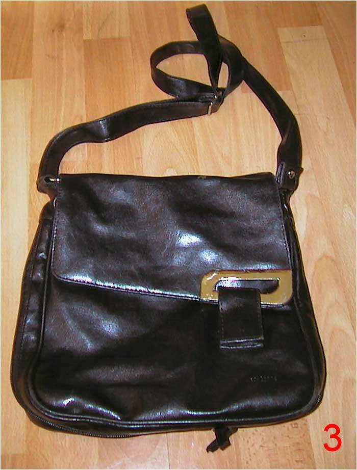 Handtasche von Es-Carte, schwarze Schultertasche