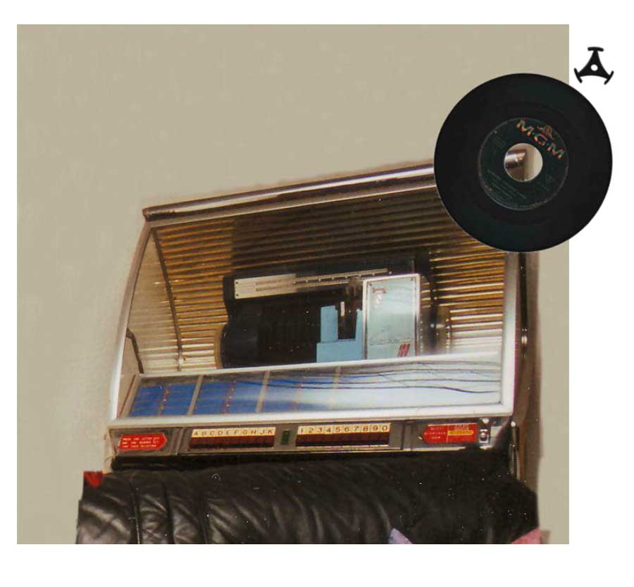 Reduzierung für Single-Schallplatten einer Jukebox, Musikbox