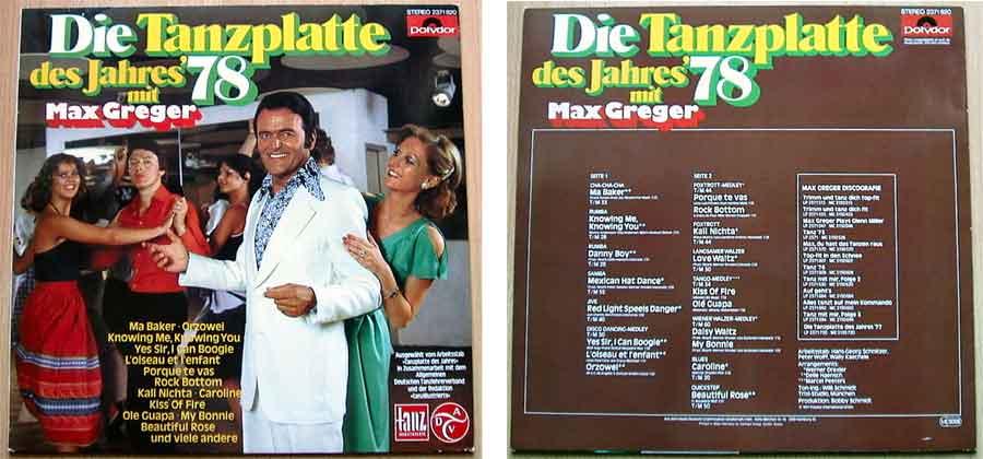 Tanzplatte mit Tanzmusik - Max Greger von 1978