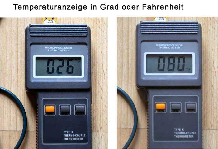 Temperaturanzeige in Grad oder Fahrenheit