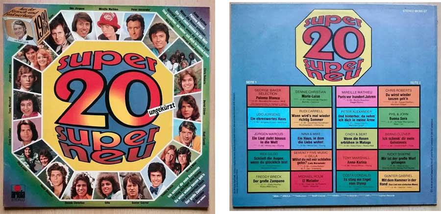 20 Topsongs auf Vinyl aus dem Jahr 1975
