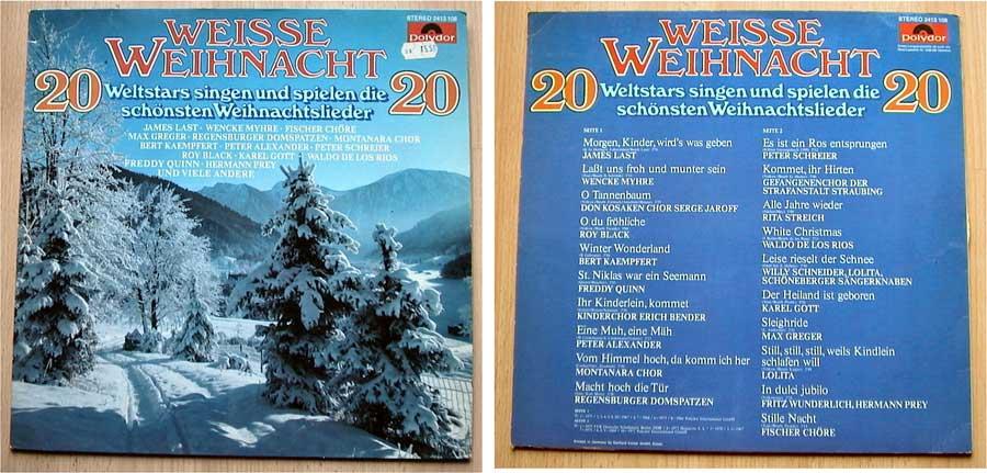 20 Weltstars singen und spielen die schönsten Weihnachtslieder - LP Vinyl von 1977