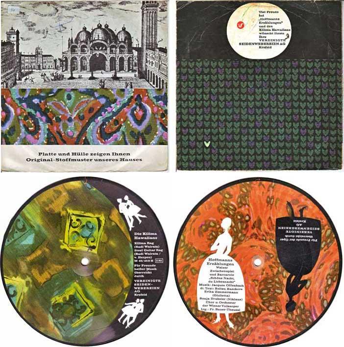 Werbeschallplatten mit Stoffmuster der Vereinigte Seidenwebereien AG Krefeld